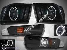 2005-2009 Ford Mustang JDM Black Headlights CCFL Halo + Bumper Lights