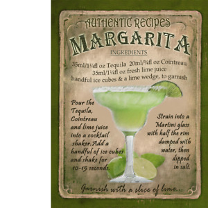Margarita  Cocktail Authentic Recipe Metal Sign 3 Sizes To Choose From