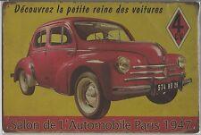 Metal Tin Sign 30 x 20cm Salon de L'Automobile Paris '47  Wall Plaque Decoration