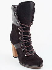 New  Moncler Dark Brown Pony Hair & Leather Booties Size 36  US 6