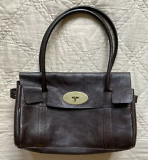 "Mulberry⚡️""Bayswater"" Chocolate brown leather medium sized tote purse bag"