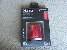 Brand New iHome iBT69RC Bluetooth Wireless Rechargeable Mini Speaker Red
