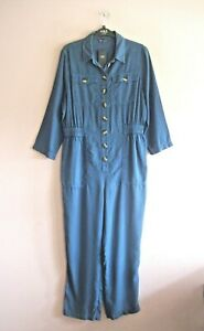 M&S Size 12 Denim Blue Boiler Suit Style Long Sleeved Collared Jumpsuit NEW