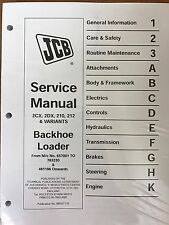 JCB Service 2CX, 2DX, 210, 212 Backhoe Loader Manual