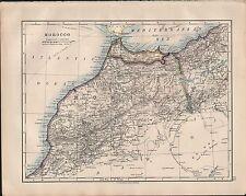 1914 AFRICA MAP ~ ~ Marocco Stretto di Gibilterra ORANO ALGERIA