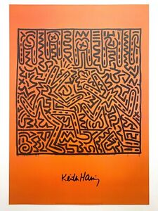 """KEITH HARING ESTATE RARE 1999 LITHOGRAPH PRINT POP ART POSTER """" UNTITLED """" 1982"""