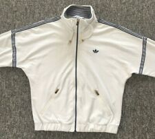 Old School Adidas Cream/White Track Jacket Top Size 40 (Small)