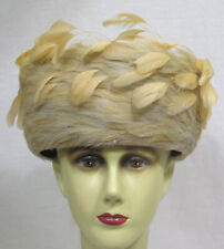 Vtg Ladies Hat Deborah Fashions A Whorl of Creamy Feathers ! 1960s