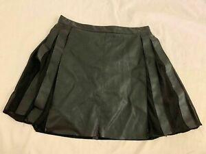 Zara Womens Solid Black Faux Leather Mini Fit Flare Skirt Xs