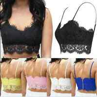 Womens Ladies Sexy Lace Strappy Eyelash Vest Bralet Bra Crop Top Party Going Out