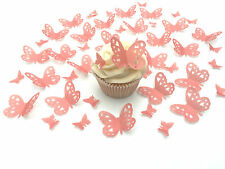 48 Edible Coral Heart Detail Butterflies PreCut Wafer cake Toppers