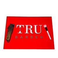 Barber Mat, Barber station mat,trubarber professional mat, anti slip Red/WHITE