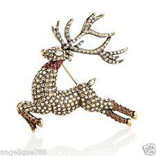 Heidi Daus Glitzen Reindeer Pin SOLDOUT EXQUISTE ONE OF A KIND SWAROVSKI CRYSTAL