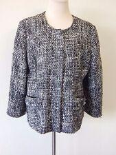 JM Collection Blazer 16 (XL) Thick Tweed Weave Black White Zippered Jacket