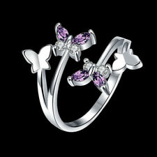 Women Fashion Butterfly Adjustable Ring Purple Crystal Ring Wedding Jewelry Gift