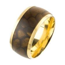 Ernstes Design Ring R384 Silk Wood Braun Stainless Steel Gold-Plated