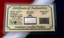 10 ACB Silver 1 GRAM INGOT Bars 999 Bullion Pure Ag W CERTIFICATE AUTHENTICIY +