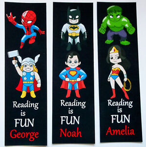 3 CHILDRENS PERSONALISED BOOKMARKS,HEROES READING IS FUN.18cm x5cm laminated