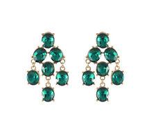 orecchini Chiodo Dorato Candeliere Verde Smeraldo Vetro Sfaccettatura Vintage BB