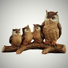 Owl Family on Branch Figurine Indoor Outdoor Home Garden Decor