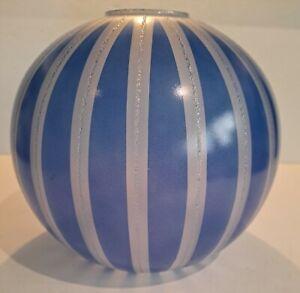 Antique Vtg Glass Globe Lamp Shade Cobalt & Silver GWTW Banquet Parlor