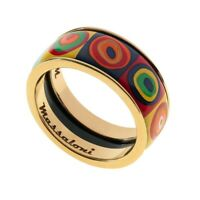 Massaloni CIRCUS Womens Ring Handmade Silver 24K Gold Plated Colorful Hot Enamel
