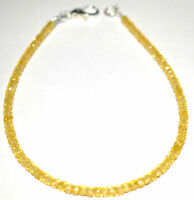 "3 mm Yellow Zircon Gemstone Round Cut 925 Sterling Silver 7"" Strand Bracelet KM7"