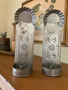 2 Vintage Primitive Pierced Tin - 1 Candle - Wall Sconces - 13.25 x 4.25 x 3.25