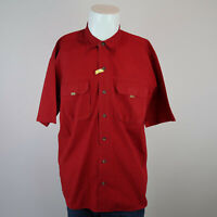 Eddie Bauer Red Short Sleeve Button Down Double Chest Pocket Shirt Mens L