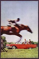 1960 Vintage Ford Thunderbird Convertible Car 2-Page Horse Photo Print AD