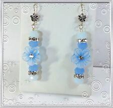 HANDMADE BLUE JADE CRYSTAL BEADED TIBETAN SILVER DANGLING HOOK EARRINGS