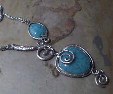 Damen Vintage Bohemian Statement Kette Halskette Farbe Silber Türkis 1642