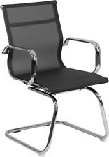 Transparent Black Mesh Side Reception Chair with Chrome Sled Base - BT-2768L-GG