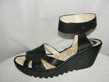 FLY LONDON Shoes Women's Size 9.5-10/40 Black Leather Ankle Strap Wedges Sandals