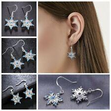 Earring Wedding Party Shiny Snowflake Drop Earring Long Tassel Aquamarine