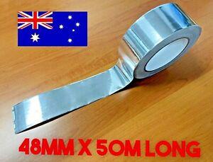 50 METER x 48mm Aluminium Foil Adhesive Sealing Tape Heating Duct Silver Repairs