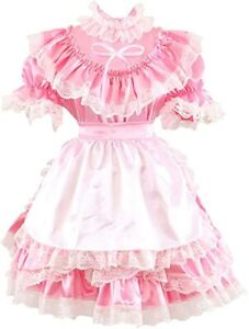 GOceBaby Sissy Maid Gothic Pink Satin Lace Dress Costume