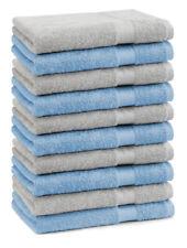 Betz Lot de 10 serviettes débarbouillettes Premium bleu clair & gris argenté
