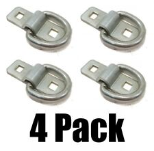 "(4) 3/8"" STEEL D RINGS & CLIPS TIE DOWN Rope Chain for Flatbed Trailer Camper RV"