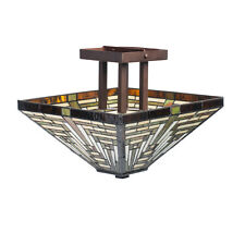 Tiffany Style Mission Ceiling Lamp Frank Lloyd Wright Hanging Fixture Lighting
