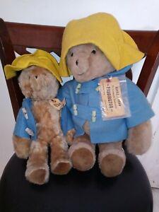 """Set of Two Paddington Bear Darkest Peru Eden Plush Toys 14"""" & 18"""" Vintage 1975"""
