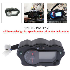 Universal 7 Color 12000 RPM Motorcycle LCD Digital Speedometer Tachometer Gauge