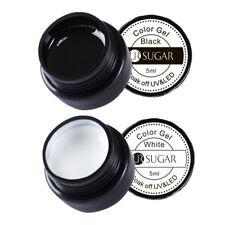 2Pcs 5ml Soak Off Painting UV Gel Polish Black White Nail Art Varnish UR SUGAR