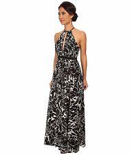 NEW NWT JILL STUART BLACK PRINT SILK CREPE MAXI DRESS OPEN BACK HALTER NECK SZ 8