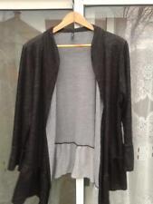 Edista Women's 1X Dark Gray Open Front Cardigan Sweater Lagenlook Drape USA