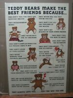 Teddy bears make the best friends Because Vintage Poster 1982 Inv#6189