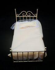 "Single""Brass"" Bed dollhouse miniature furniture 1/12 scale D3806 metal w matress"