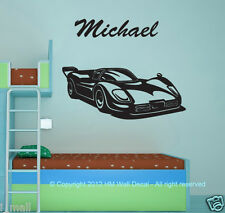 Customise name & Race car wall sticker, for someone desire something special