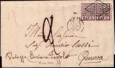 STATO PONTIFICIO 1860 - 5 b. n. 6A ROMA x GENOVA, TASSATA 2 € 180+