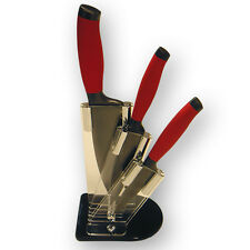 Bloc Prestige  3 couteaux lame revêtement titane Anti Corrosion  Rouge